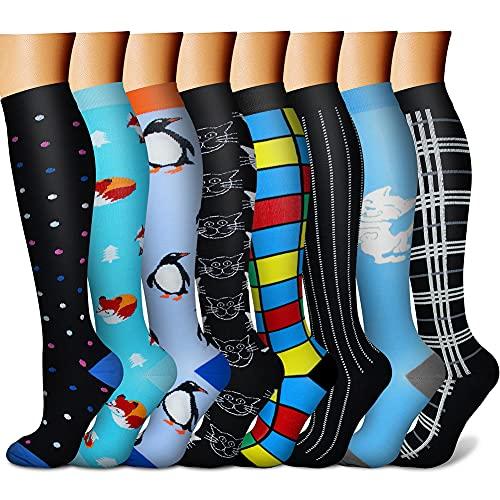 CHARMKING Calcetines de compresión para hombres y mujeres, 15-20mmHg, son el mejor soporte para atletismo y ciclismo, 8 pares - - L-XL