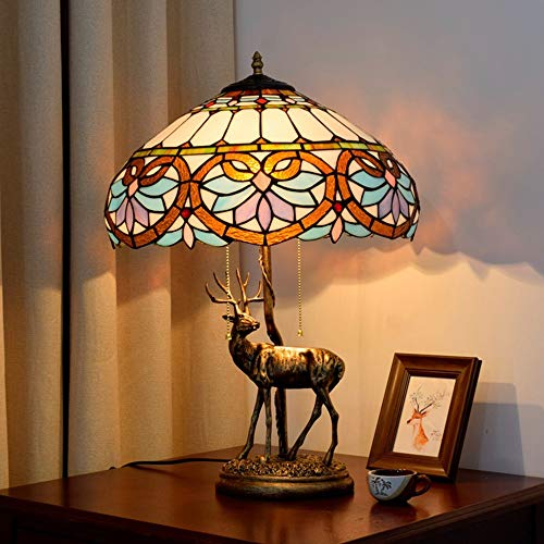 KK Timo Lámpara de mesa de Elk con diseño de amor Tiffany, de cristal, para sala de estar, comedor, bar, dormitorio, mesita de noche, luz 40 x 59 cm