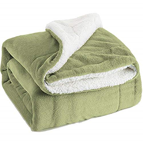Bedsure Sherpa Blanket Lime Green Double/Twin Size (150 x 200cm) Fleece Bed Blankets Warm Fluffy Reversible Microfiber Solid Blankets for Bed and Couch