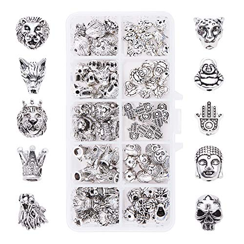 PH PandaHall 10 Style Animal Jewelry Spacer Beads, 100pcs Lion Crown Skull Leopard Wolf Buddha Head Metal Beads Charms for Earring Bracelet Necklace Making