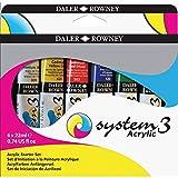 Set de Iniciación Pintura Acrílica DALER ROWNEY System3, con 6 Tubos de Colores Surtidos (6 x 22 ml)
