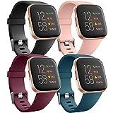 Ouwegaga Cinturino di Ricambio in Silicone Compatibile con Fitbit Versa Cinturino/Fitbit Versa Lite Cinturino/Fitbit Versa 2 Cinturino, Piccolo Nero/Rosa/Rosso/Blu Ardesia