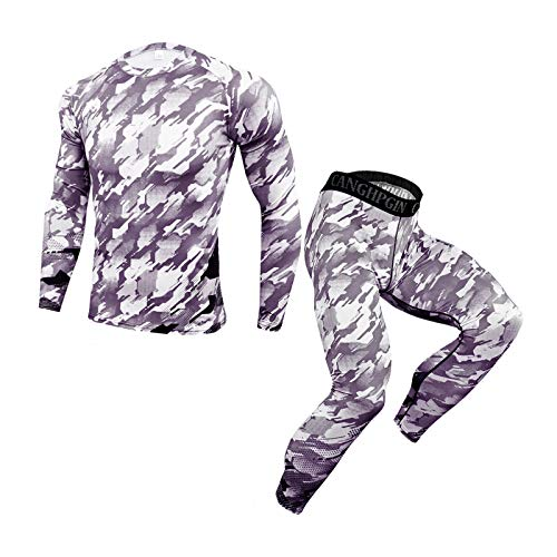 Men's Cycling Suit Sportswear Windproof Long Sleeve Clothing Set with Camouflage Tops+3D Printed Pants Trousers Mens 2 Piece Tracksuit Sweatsuits (Camouflage, XXL)