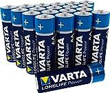 Pila Varta Longlife Power AA Mignon LR6 (paquete de 20 unidades), pila alcalina - «Made in Germany» - Ideal para juguetes, linternas, mandos y otros aparatos que funcionan con pilas