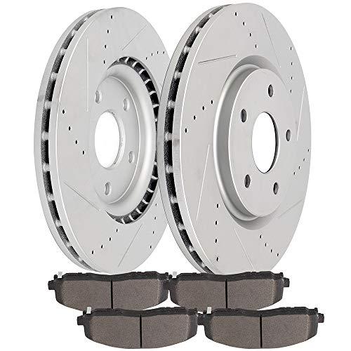 LSAILON LSAILON – Rotores de freno ranurados perforados para Chrysler Town & Country 2012-2016, Dodge…