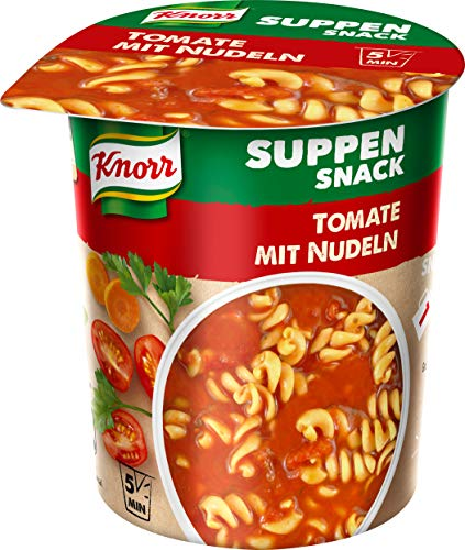 Knorr Suppen Snack Tomate mit Nudeln, 1 Portion, 8er Pack