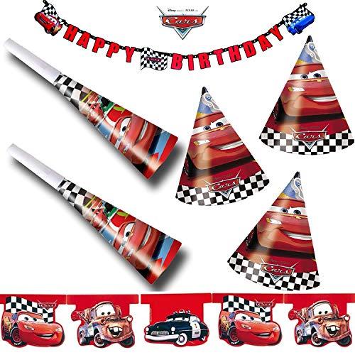 Procos/Carpeta 39-TLG. Kinder-Party-Set * Cars RED * mit Girlande + Wimpelkette + Hüte + Tröten | Geburtstag Disney Rennautos Auto Kindergeburtstag Motto