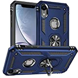 Pegoo iPhone XR Case,Silicone Impact Resistant Hybrid Heavy Armor with Bracket Bumper Cover Case for iPhone XR (Navy Blue)