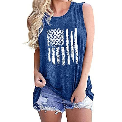 Mayntop Camiseta sin mangas para mujer, con diseño de bandera de Estados Unidos, 4 de julio, camiseta con cuello en O, B-azul, 36