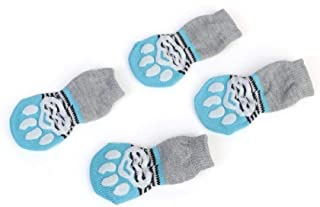 YBAA Winter Pet Dog Shoes Anti-Slip Knit Socks Small Dogs Cat Shoes Chihuahua Thick Warm Paw Protector Dog Socks Booties Accessories (Color : Gray, Size : S)