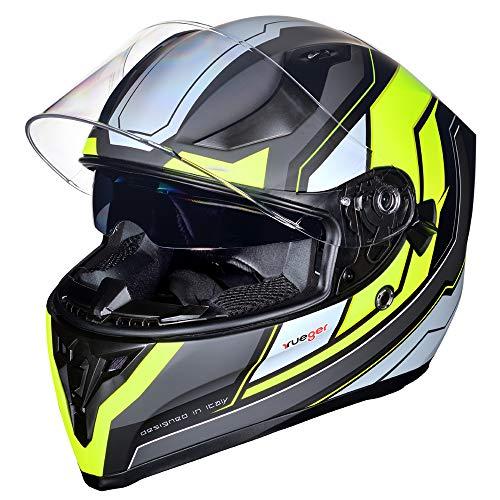 Motorradhelm Integralhelm rueger RT-826 Motorrad Roller Quad Helm, Farbe:Black Neon, Größe:XL (61-62)