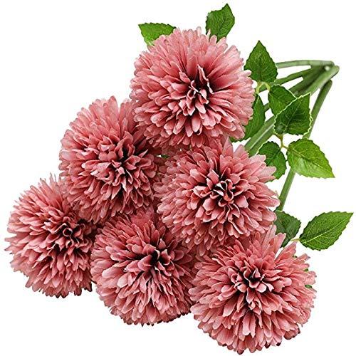 YYHMKB Fleurs d'hortensia artificielles, 6 pièces en Soie chrysanthème Petite Boule Fleurs pour la décoration de Bureau de fête de Jardin à la Maison, Rose