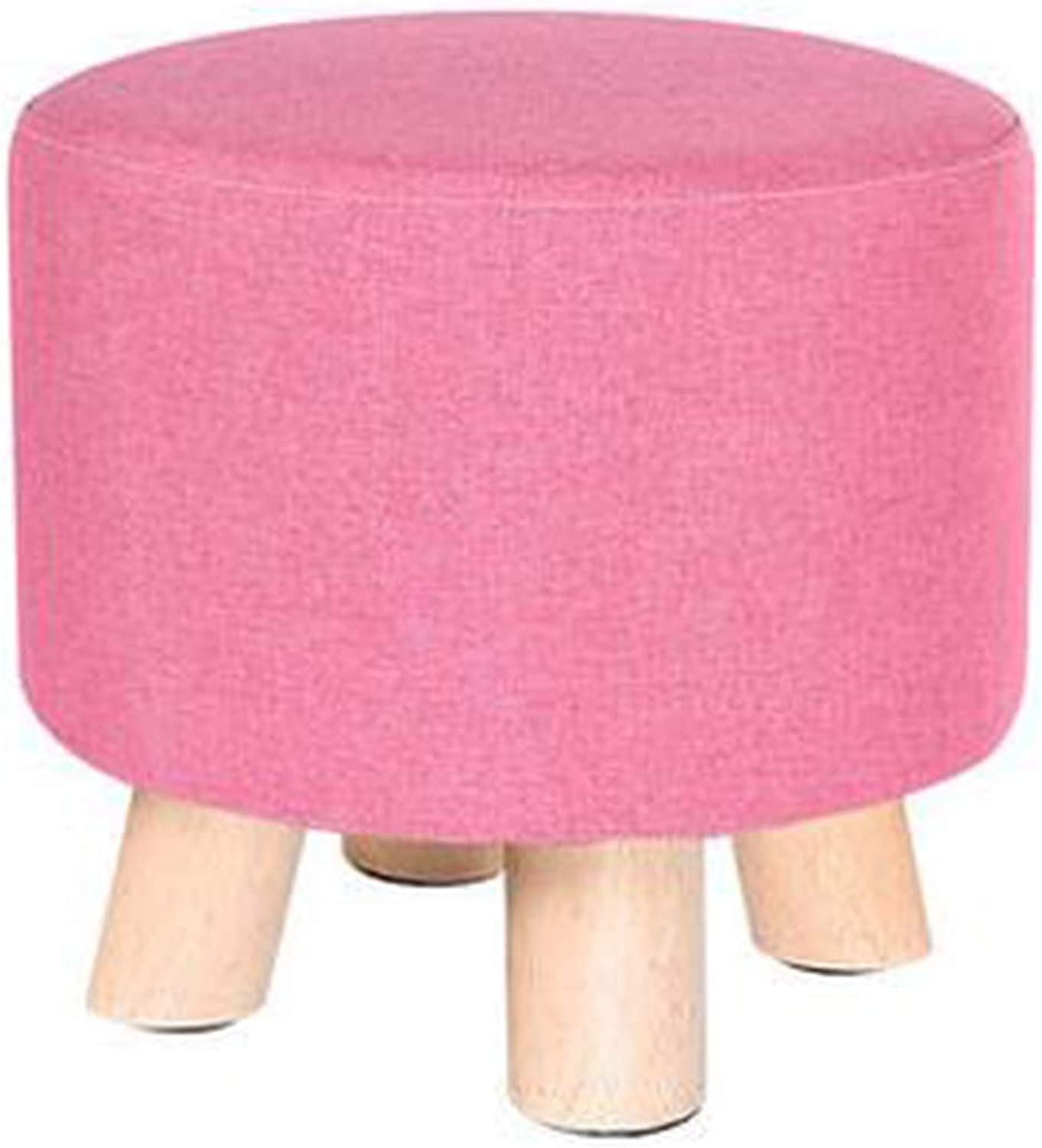 Creative Round Wooden Footstool Linen Foot Rest Stool Adult Kids Applicable, Pink