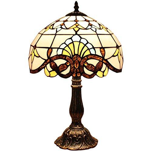 Bieye L30025 Lampada da tavolo in vetro colorato Tiffany barocco con paralume lavorato a mano largo 30 cm, base in lega di zinco con finitura in cotto marrone scuro, altezza 46 cm