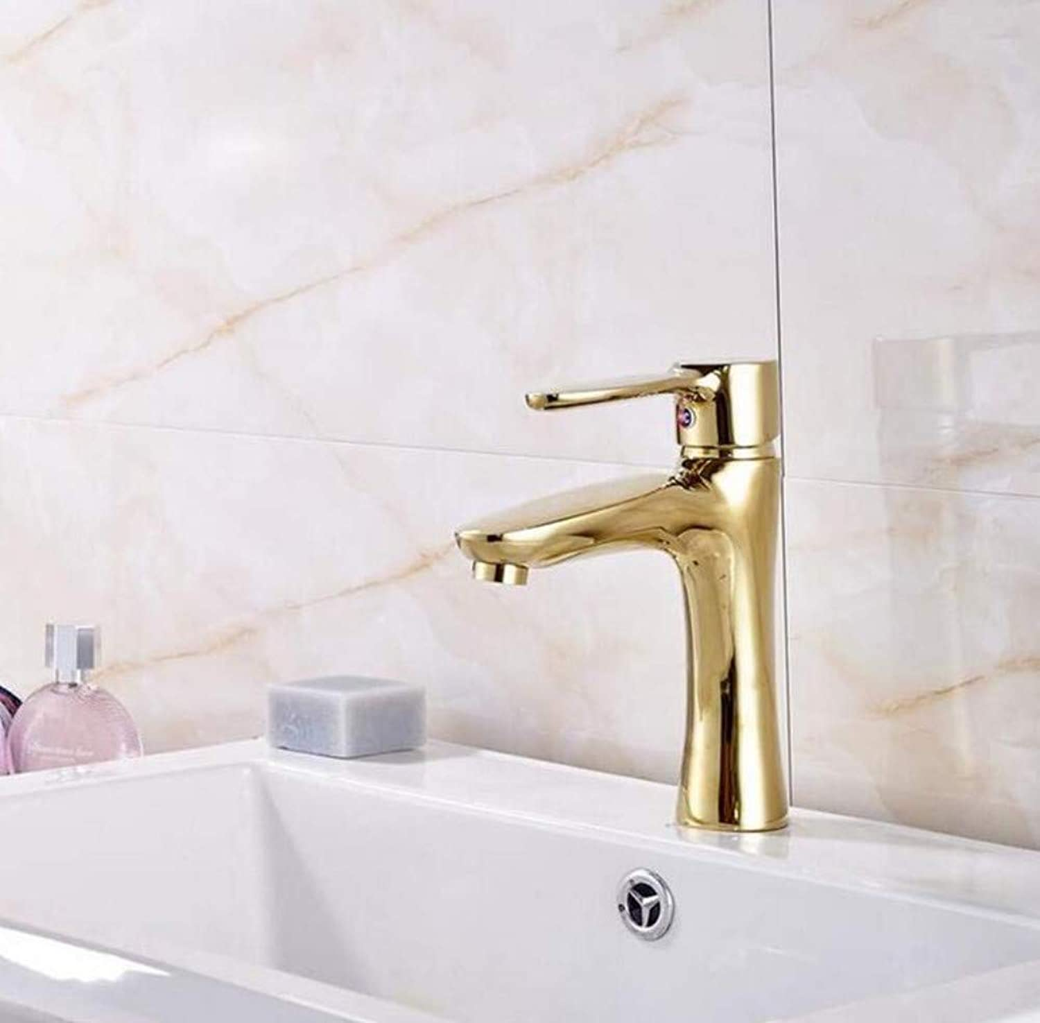 Brass Wall Faucet Chrome Brass Faucetmixer gold Polished Deck Mounted Bathroom Sink Faucet Countertop Hot and Cold Water Mixer Tap with Cover Plate