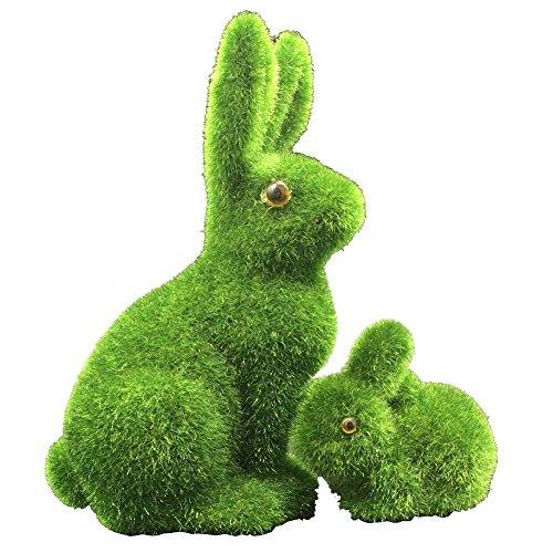 Coniglietti in erba sintetica, per decorare la casa e l'ufficio, ideali per Pasqua, colore verde, 2 pezzi
