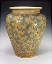 Blue and yellow ash glazed puzzle vessel
