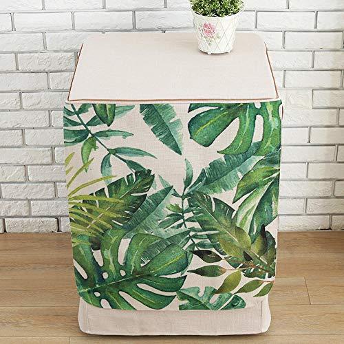 Waschmaschinen-Abdeckung, wasserdicht, grüne Blätter, für Toplader, Whirlpool, Frontlader, automatischer Waschtrockner, staubdicht, spritzwassergeschützt, Reißverschluss, 60 x 60 x 83 cm