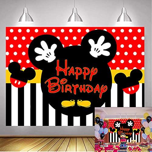 Betta Mickey Mouse telón de fondo para fotos de Mickey Feliz Cumpleaños Rojo Negro Rayas Lunares Dibujos Animados Mouse Fondos para Bebé Fiesta de Cumpleaños Pastel Fondo de Mesa 2.1x1.5 m