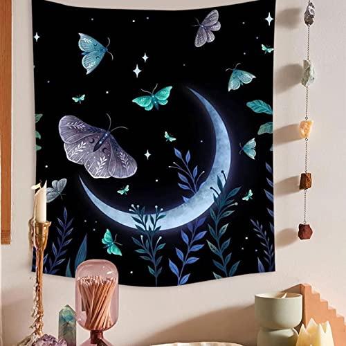 Tapiz de fase lunar, montaje en pared, planta de alce, tapiz de flores celestiales, tapiz Hippie con flores y mariposas, A5 130x150cm