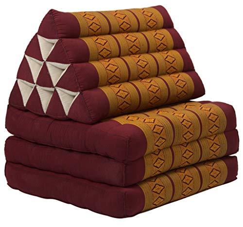 Fine Asianliving Thaikissen Dreieckskissen 3 Auflagen Kapokfüllung Thai Orange Thai Kissen Meditation Matte Matratze Kapok 301-A10