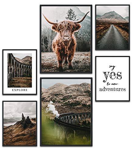 MUUDLY Premium Poster Set, Moderne Wandbilder für Wohnzimmer und Schlafzimmer, 2 x A3 & 4 x A4, Bilder als Wanddeko (Schottland, ohne Rahmen)