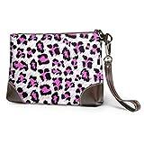 Yushg Morbido portafoglio impermeabile da donna in pelle con cerniera Bellissimo cinturino per telefono in pelle di pelle di leopardo rosa con cerniera per donne ragazze
