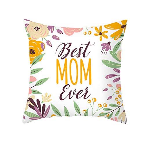 KnBoB Funda de Almohada Poliéster Best Mom Ever Plantar Flores Oro Rosa Púrpura 50 x 50 cm Estilo 2