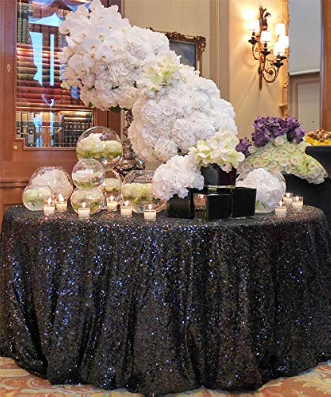 QueenDream Glitter Black Sequin Tablecloth 120