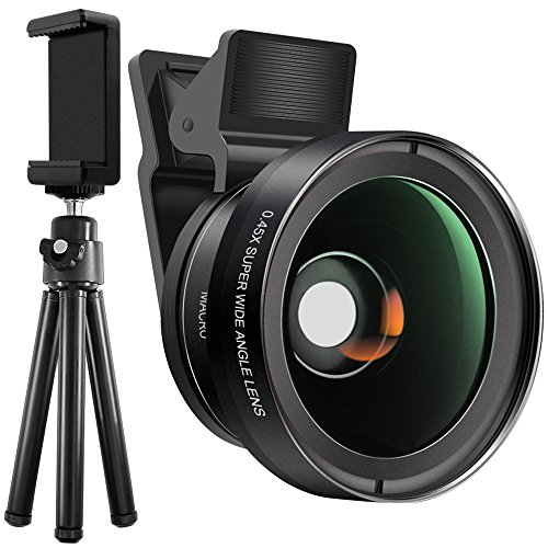 Cell Phone Camera Glass Lens Kit with Tripod and Adapter, SourceTon HD Clip-on Macro & Wide Angle Optic Lens for Single Lens iOS and Android Smartphones