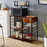 amzdeal Kitchen Bakers Rack with Storage Drawer, 4-Tier Microwave Stand with Glass Holder, Kitchen Utility Storage Shelf, 51.5Hx35.4Lx15.7W Inch, Microwave Oven Cooking Cart, Vintage Brown