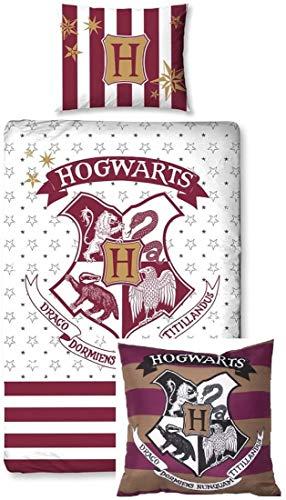 Rainbowfun.de Harry Potter - Bed Cover en Knuffel Kussen; Dekbedovertrek: 140 cm x 200 cm, kussensloop: 70 cm x 90 cm - 100% Katoen; Knuffelkussen: 40 cm x 40 cm - 100% Polyester