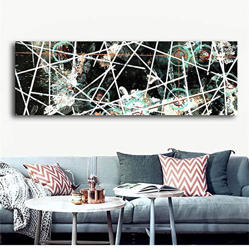 Abstrakte Geometrie Schwarz Weiß Poster und Drucke Leinwand Malerei Skandinavisches Wandbild Wohnzimmer Wohnkultur 50x150cm
