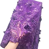 WorthSJLH Purple African Lace Fabric 3D Applique Net Lace Fabric Material 2020 New Latest French Nigerian Lace Fabric L403 (Purple)