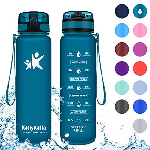 KollyKolla Botella Agua Sin BPA Deportes - 500ml, Reutilizables Ecológica Tritan, Bebidas Botellas con Filtro & Marcador de Tiempo, para Colegio, Tapa Abatible de 1 Clic, Verde Bosque Mate