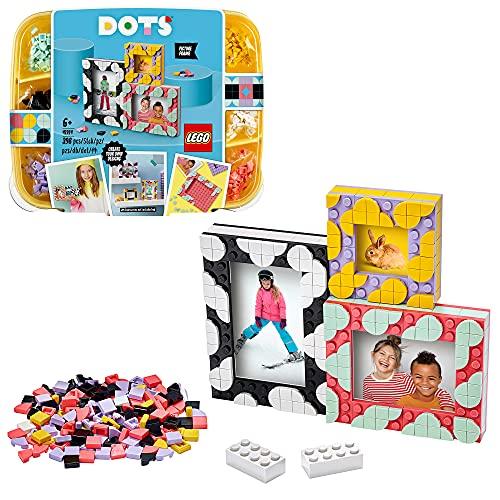 LEGO 41914 DOTS 3 Bilderrahmen Set mit bunten Steinchen, Kinderzimmer-Deko, DIY Bilderrahmen, Bastelset für Kinder