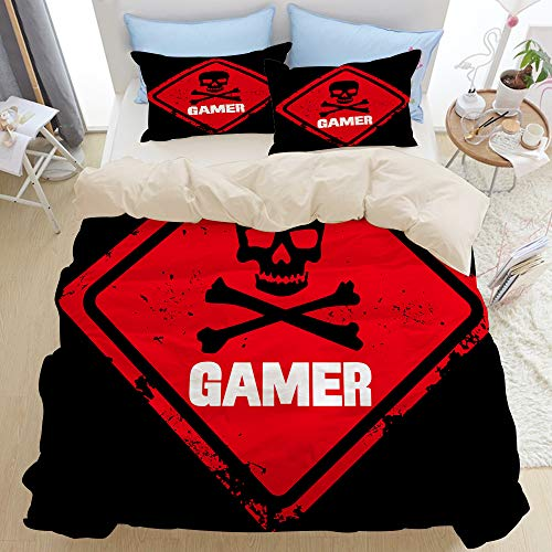 GLONLY Bedding Duvet Cover Set Single,Ghost red skull death,Bedroom 3pcs Microfiber Down Comforter Quilt Bedspread Cover Sets,Zipper Closure with 2 Pillow Shams