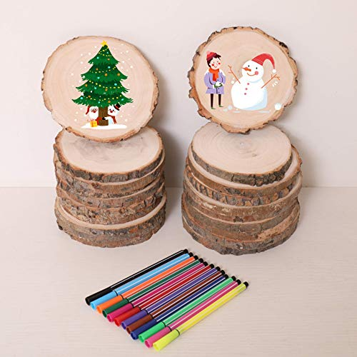 Coasters Paint Tree Slices-20 pcs 3.9-5.9 Inch Natural Wooden Slices for DIY,Tree Slice for Kid Gift,for Drink Coaster