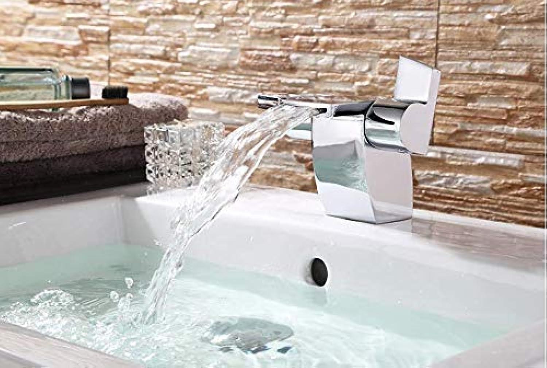 JONTON Faucet Wash Faucet Copper Hot And Cold Water Waterfall Basin Faucet Double Handle Creative Personality Basin Wash Basin Faucet