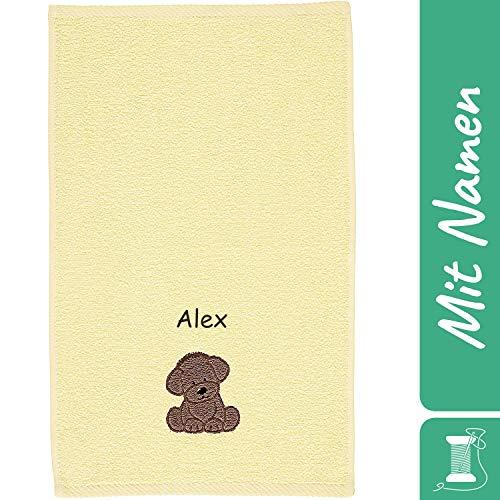 Sterntaler Kinder/Baby Handtuch mit Namen bestickt, Gelb, Hund Kinderhandtuch personalisiert (Hund Hanno gelb)