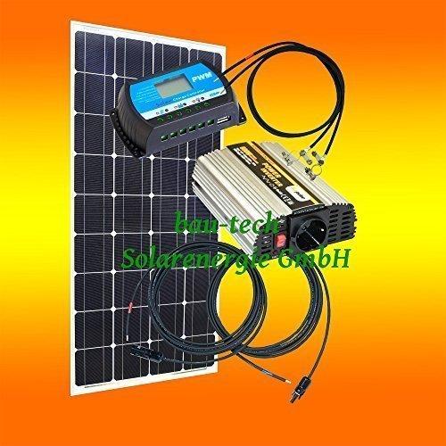 100 Watt Inselanlage, 12 Volt SET mit Spannungswandler von bau-tech Solarenergie GmbH
