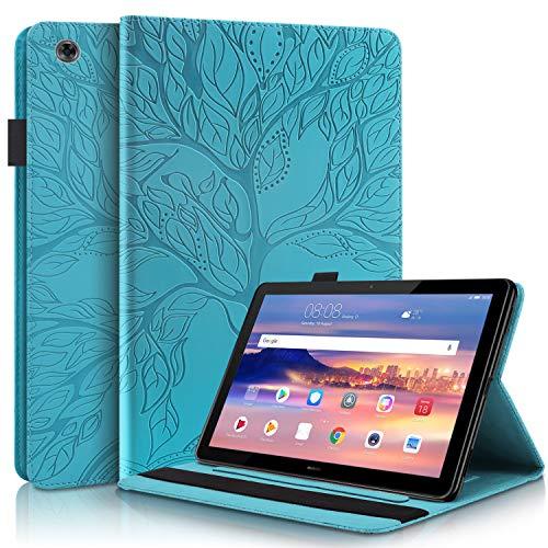 HülleFun Hülle für Huawei Mediapad T5 10 Baum des Lebens Ultra Slim TPU Schutzhülle Tasche Folio Flip Stand Cover mit Kartenfächern, Blau