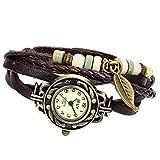 Avaner Damen Uhr Analog Quarzwerk mit handgefertigt geflochten Leder Armband Braun Surfer AN009-08