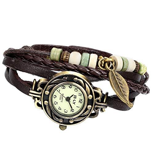 Reloj de Pulsera Chica Mujer Reloj Retro Vintage Correa de Cuero Trenz