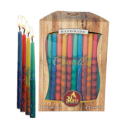 Ner Mitzvah Beeswax Chanukah Candles - Standard Size Candle Fits Most Menorahs - Premium Quality Pure Bees Wax - Assorted Colors - 45 Count for All 8 Nights of Hanukkah