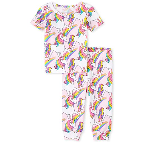 The Children's Place Baby Girls' Short Sleeve Pajama Pant Set, Cameo, 3-6MONTHS