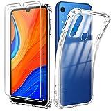 Reshias Hülle kompatibel mit Huawei Y6s,Weich Transparent TPU Silikon Anti-Fall Handyhülle Schutzhülle mit Zwei Gehärtetes Glas Schutzfolie Bildschirmschutzfolie für Huawei Y6s 2020 (6,09 Zoll)