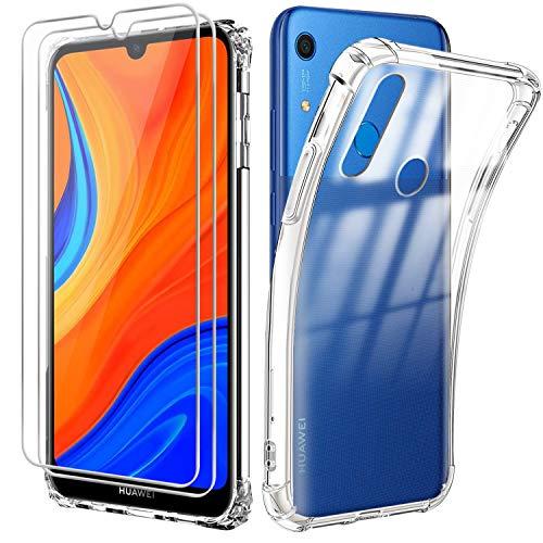 Reshias Funda para Huawei Y6s con Dos Cristal Templado Protector de Pantalla, Suave TPU Transparente Gel Silicona Anti Caída Protectora Carcasa para Huawei Y6s 2020 (6.09 Pulgadas)