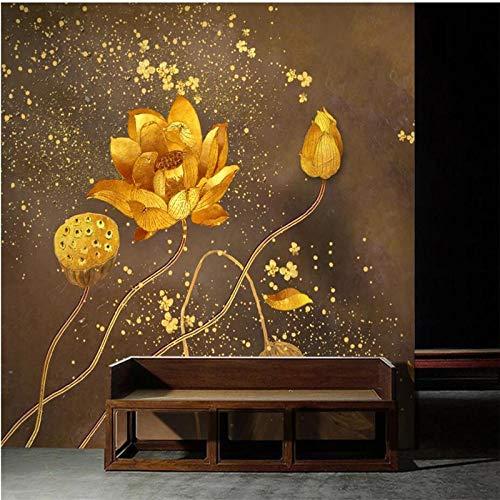 ZJfong Aangepaste hand geschilderd penseel Lotus gouden achtergrond 3D muurschildering Woonkamer Slaapkamer Home Decor 42 x 260 cm.