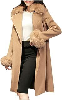 Womens Woolen Coat Winter Lapel Wool Coat Trench Jacket Long Sleeve Overcoat Outwear